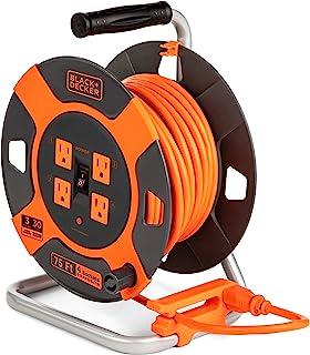 Black + Decker Cable de extensión retráctil, 75 pies, con 4 salidas – Cable SJTW de 14 AWG – Carrete de cable de alimentación exterior resistente con extensión de enchufe múltiple, fácil de rebobinar – retráctil de cable premium para jardín