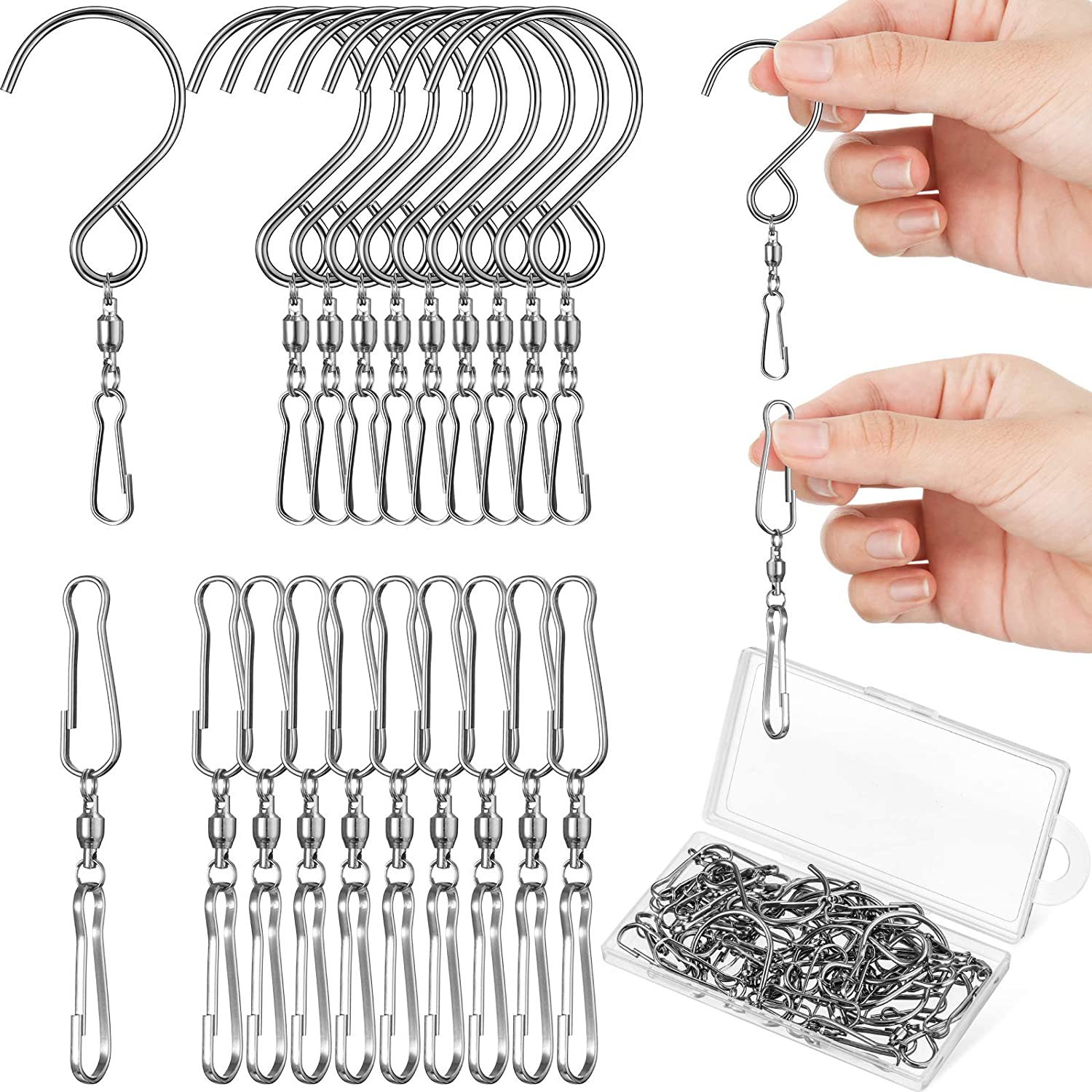 30 Pieces Dual Swivel Hook 360 Degree Rotating Windsock Clips Stainless Steel Hanger Swivels Clip Dual Hanging Spiral Hooks with Storage Box for Hanging Wind Spinners Wind Chimes Supply, 2 Styles