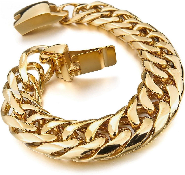 Kalendone Men's Stainless Steel Bracelet Link Wrist Braclet Silver gold Stainless Steel Polished Bracelet Biker,8