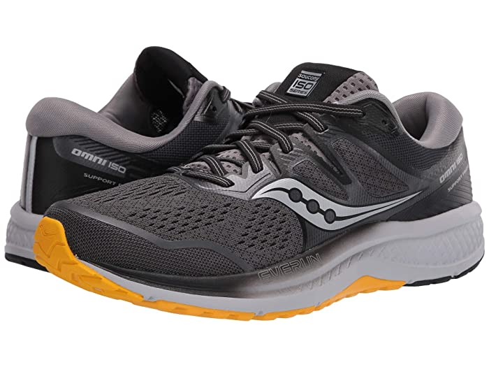 Saucony  Omni ISO 2 (Grey/Black/Yellow) Mens Shoes