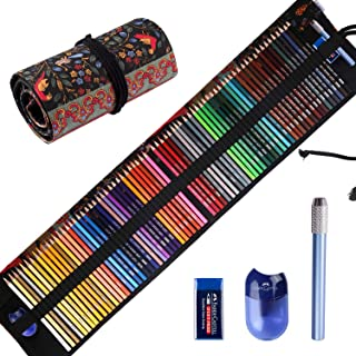 Premier Colored Pencils for Adults Coloring Books, Premium Artist Colored Pencil Set (72-Count), Handmade Canvas Pencil Wrap, Extra Accessories Included, Holiday Gift, Oil based Color Pencils
