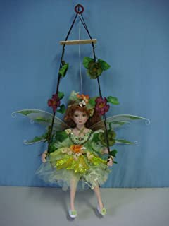 """Jmisa 16"""" Porcelain Fairy Doll on Swing Green"""
