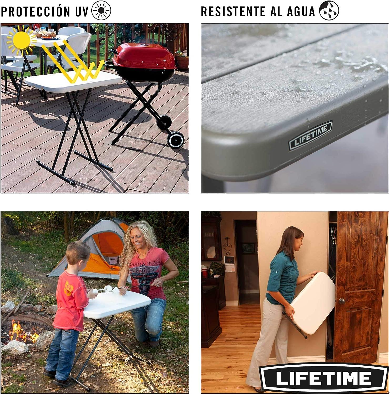 Lifetime 80251 Adjustable Folding Laptop Table TV Tray White Granite 26 Inch