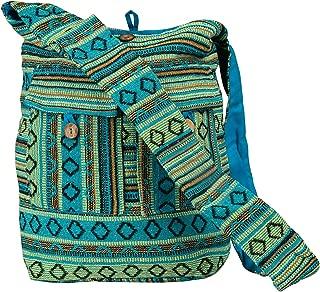 Tribe Azure Blue Aztec Canvas Large Hobo Cross body Shoulder Sling Slouch Casual Shopping Market Bag