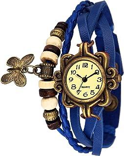 Watzo Butterfly Blue Dori Analog Dial Leather Dori Strap Party Wedding | Casual Watch | Formal Watch | Luxury Watch | Fashion Wrist Watch Specially for Teenager Girls and Women | Dori