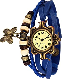 Endlook Dori- Blue Leather Bracelet Watch for Ladies and Girls Blue Dori