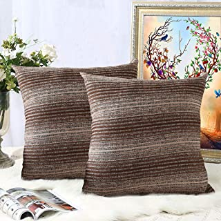Oneslong Decorative Throw Pillows Cover for Couch Set of 2 Strip Chenille Soft Couch Pillows Cover for Bed Sofa Pillows Case 18 x 18 inch