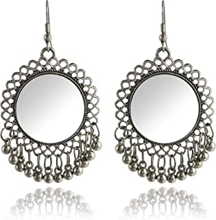 d422cba6850d2e Roops Collexion RC Afghani Designer Vintage Oxidised German Silver Tribal  Hoop Dangler Hanging Mirror Chandbali Earring