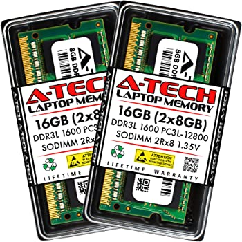 A-Tech 16GB (2x8GB) DDR3 / DDR3L 1600MHz SODIMM PC3L-12800 2Rx8 Dual Rank 1.35V CL11 204-Pin Non-ECC Unbuffered Notebook Laptop RAM Memory Upgrade Kit
