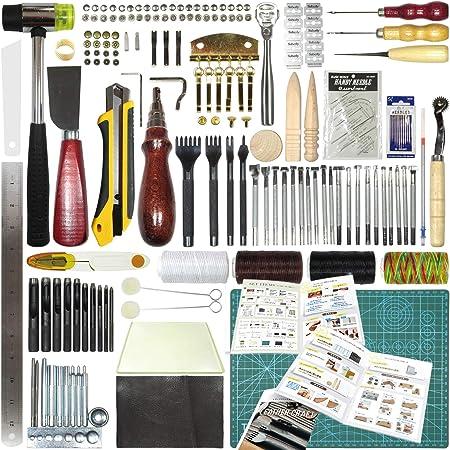 レザークラフト工具 セット 32種類 部品140点 カラー12ページ日本語取説付き 革 型紙付き 届いたらすぐ作れる