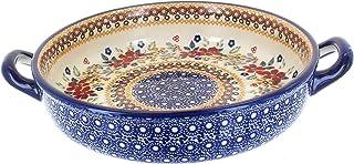 OKSLO Po pottery red daisy small round baker with handles