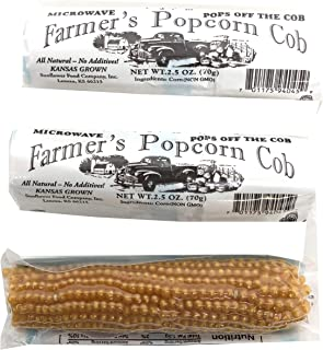 Farmers Popcorn Cob – Microwave Popcorn That Pops Off the Cob - Pack of 3 - All Natural, No Additives, Kansas Grown, Non-GMO Popcorn - 2.5 Ounce