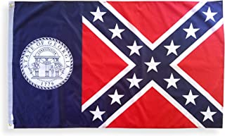High Supply 3x5 Georgia Flag (Old Version) with Brass Grommets, 100% Polyester Fabric, and Double Stitched Edges, Old Georgia Flag 3x5 Foot State Flag of Georgia, 3x5 Confederate Georgia Flag