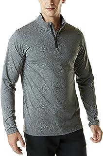 TSLA Men's 1/4 Zip Thermal Pullover Shirts, Lightweight Athletic Fleece Lining Winter Running Sweatshirt