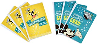 Hallmark Disney Graduation Cards Assortment, Mickey Mouse Congrats (6 Cards with Envelopes)