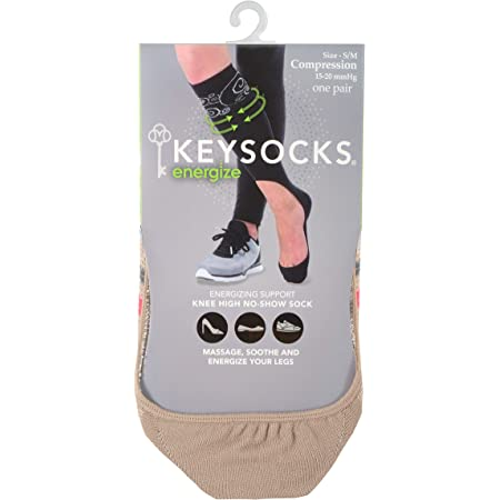 KEYSOCKS Energize No-Show Knee High Compression Socks 15-20mmHg