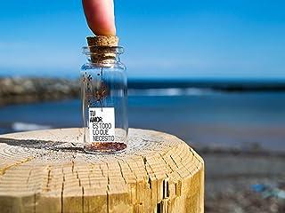 ''Tu amor es todo lo que necesito'' Mensaje en una botella. Miniaturas. Regalo personalizado. Divertida postal de amor.