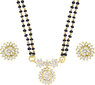 Efulgenz Indian Bollywood Traditional Gold Plated Ruby Emerald/Color CZ Stone Mangalsutra Pendant Necklace Jewelry with chain for Women