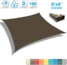 Patio Paradise 8' x 8' Brown Sun Shade Sail Square Canopy - Permeable UV Block Fabric Durable Outdoor - Customized Available