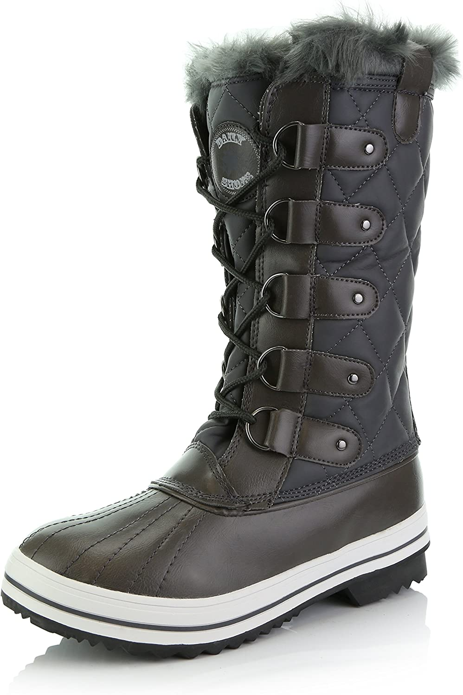 DailyShoes Women's Mid Calf Arctic Warm Fur Water Resistant Eskimo Snow Boots