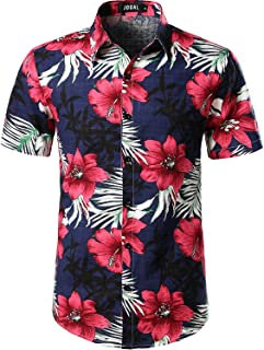 Men's Flower Casual Button Down Short Sleeve Hawaiian Shirt