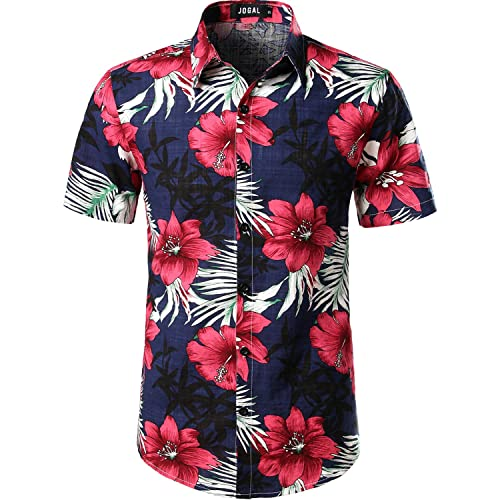 cfad0e23d7fd JOGAL Mens Flowers Casual Aloha Hawaiian Shirt