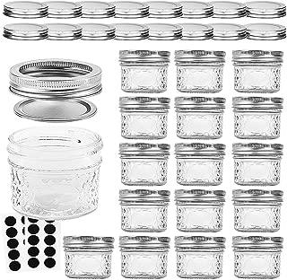 VERONES Mason Jars Canning Jars, 4 OZ Jelly Jars With Regular Lids and Bands, Ideal for Jam, Honey, Wedding Favors, Shower Favors, Baby Foods, DIY Magnetic Spice Jars, 16 PACK,Extra 16 Lids