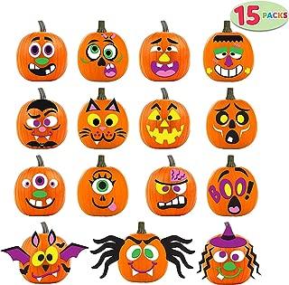 JOYIN 15 Packs Pumpkin Decorating Foam Stickers in 15 Designs Halloween Party Supplies Trick or Treat Party Favors