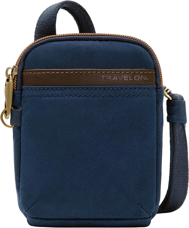 Travelon Anti-Theft Courier Mini Crossbody, Navy, 5.5 x 6.5 x 1.5