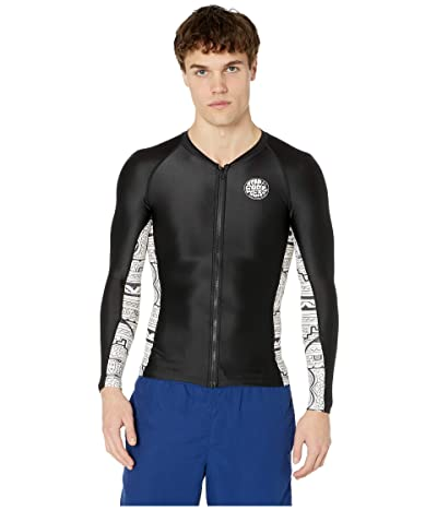 Rip Curl Hanna Long Sleeve Zip Thru UV Rashguard (Black/White) Men