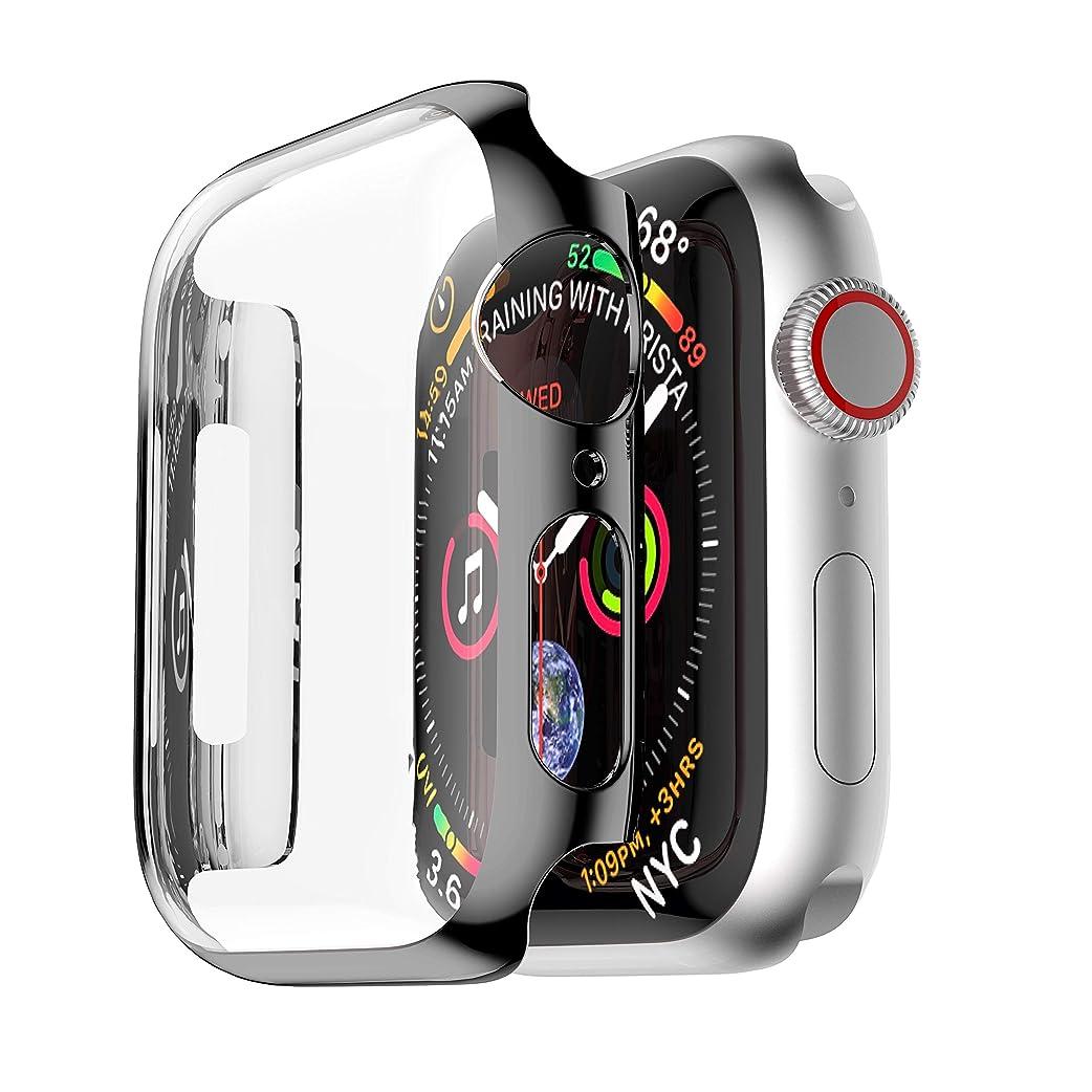 再発する動物園スキャンSakulaya Apple Watch ケース PC メーキ加工 耐衝撃性 超薄 フルカバー Apple Watch Series 5 44mm 対応 カバー ブラック