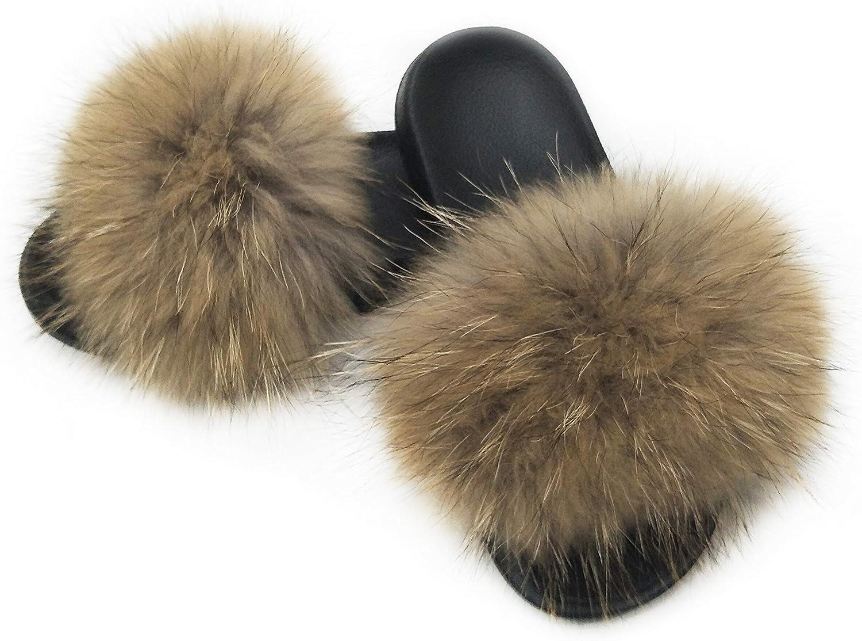 Hima 100% Raccoon Fur Slippers