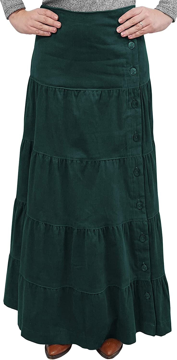 Baby'O Women's Long Ankle Length Tiered Corduroy Maxi Skirt with Side Buttons