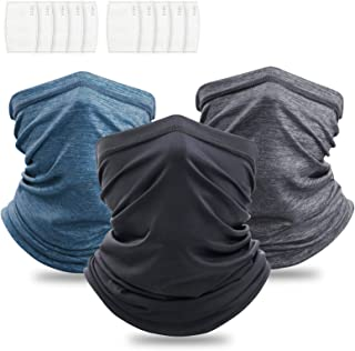 Squish 3Pcs Neck Gaiter with Filter, UPF 50 Face Cover - UV Sun Protection Warmer Windproof Gaiter Sun Bandanas Breathable...