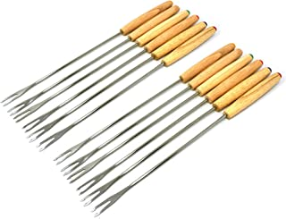 "Antrader Set of 12 Stainless Steel Cheese Fondue Forks, Barbecue Skewers Marshmallow Roasting Sticks with Heat Resistant Oak Wood Handle 9.4"" Long"