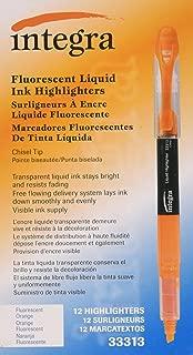 Integra Liquid Ink Highlighter, Chisel Tip, Fade Resistant, Fluorescent Orange (ITA33313)