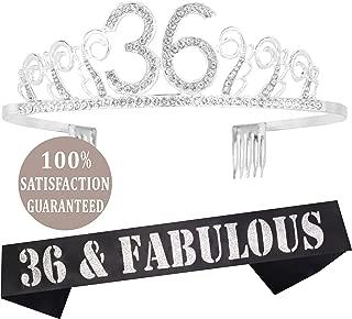 36th Birthday Tiara and Sash silver, 36th Birthday Gifts for woman, HAPPY 36th Birthday Party Supplies, 36 & Fabulous Glitter Satin Sash and Crystal Tiara Birthday Crown for 36th Birthday Party Suppli