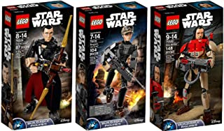 LEGO Star Wars Buildable Series Ultimate 3 Figure Set - Baze Malbus 75525, Jyn Erso 75119, Chirrut Îmwe 75524