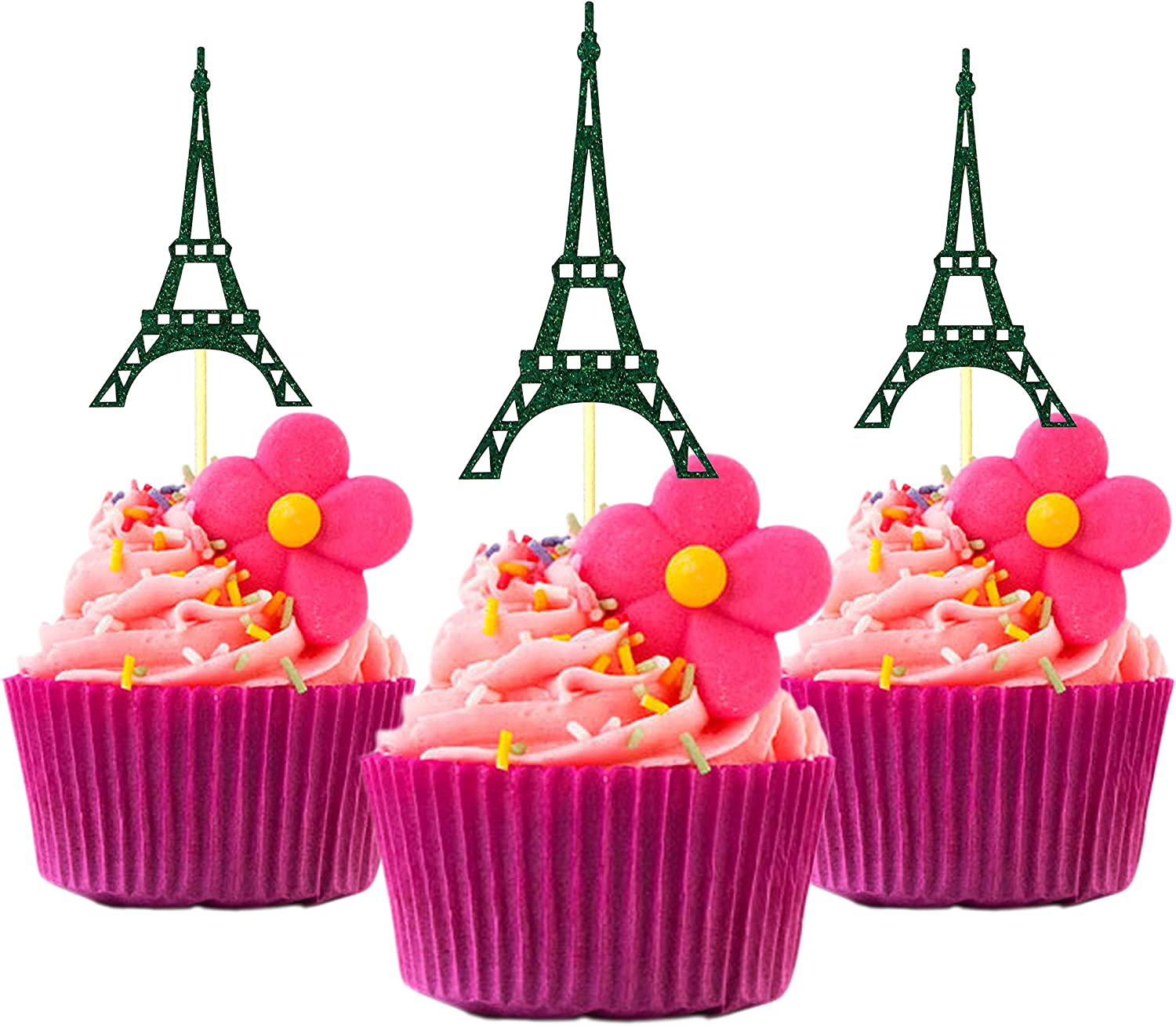 Amazon Com Cup Cake Topper Eiffel Tower Paris Birthday Ideas Glitter Card Stock Color Green 12 Pieces Per Pack Grocery Gourmet Food