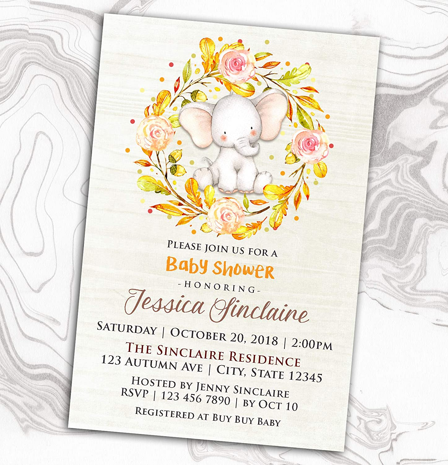 Fall Baby Shower Invitation - Sprinkle Diaper Max 85% OFF Little Elephant Seattle Mall