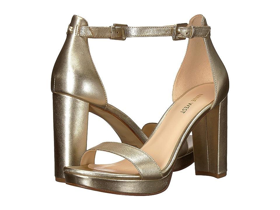 Nine West Dempsey Platform Heel Sandal (Platino Soft Metallic Nappa) Women