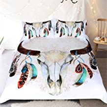 Sleepwish Tribal Duvet Cover Skull Horns Feathers Boho Chic Bedding Rustic Floral Gold Mandala Bed Set - King, White