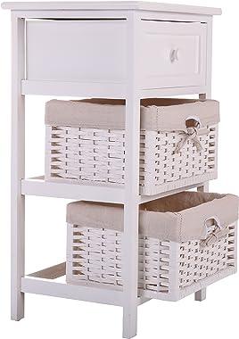 White Nightstand End Table Bedroom Bedside Furniture w/ 2 Wicker Storage Wood …