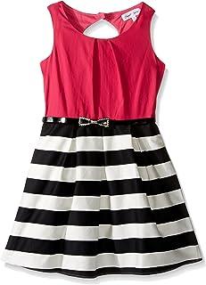 Emerald Sundae Girls' Big Blk/White Strip Skirt with Fuschia Top Dress