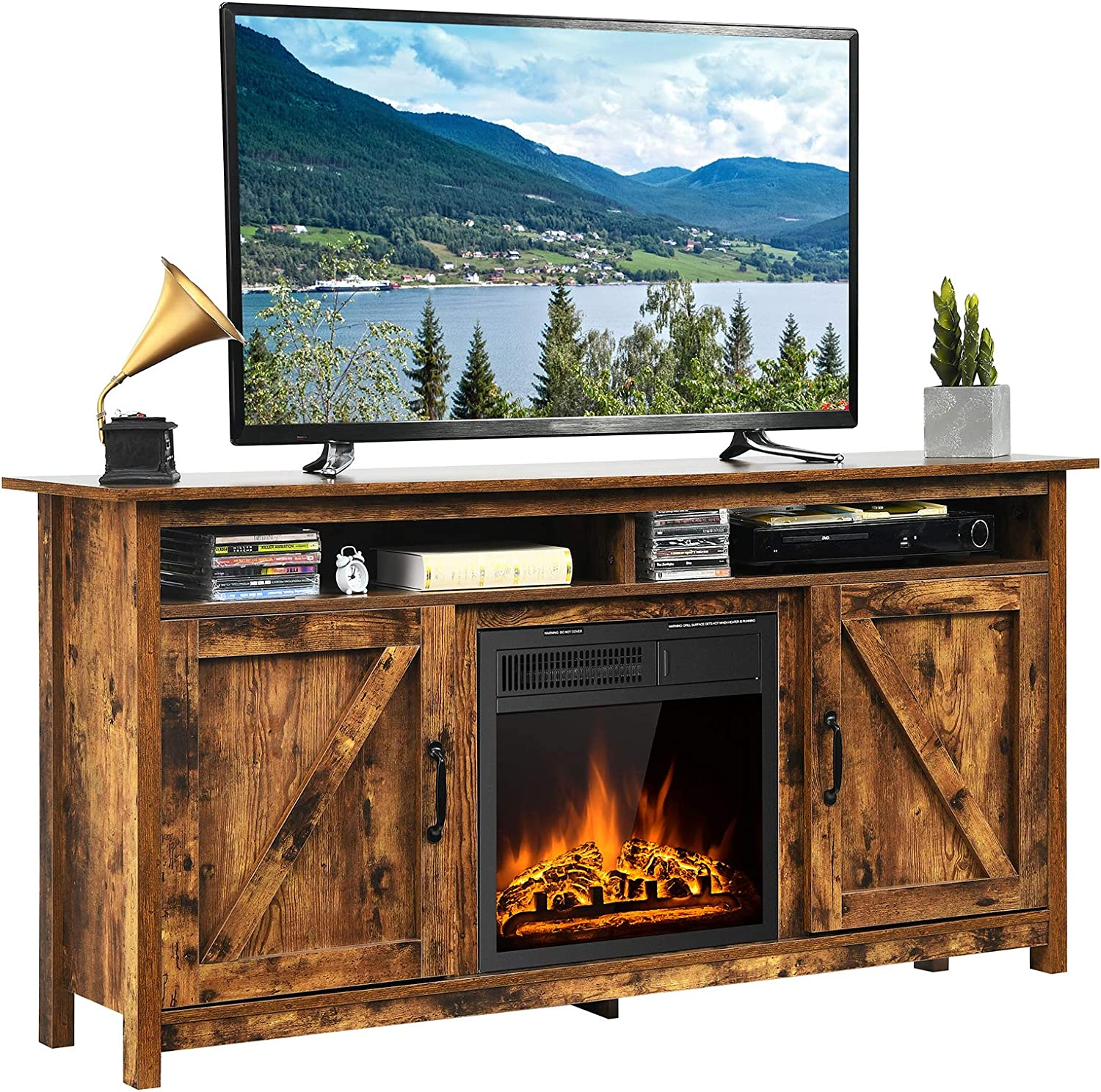 Tangkula Industrial Fireplace TV Stand for TVs Up to 20 Inches,  Entertainment Center w/ 20W Fireplace, Fireplace Media Console Table,  Electric ...