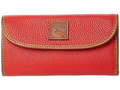 Dooney & Bourke Pebble II Continental Clutch (Red/Brandy Trim) Clutch Handbags