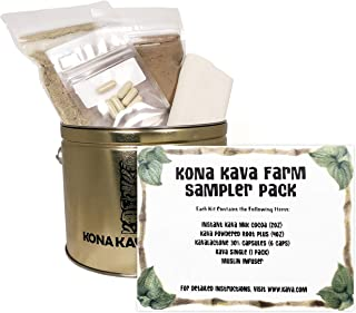 KONA KAVA Sampler Pack with Kava Root Powder, Instant Kava Cocoa, Kava Capsules, and Muslin Extraction Bag | Kava Kava Sam...