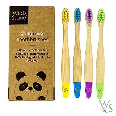 Wild & Stone Organic Children's Bamboo Toothbrush | Four Colors | Soft Fibre Bristles | 100% Biodegradable Handle | BPA Free | Vegan Eco Friendly Kids Toothbrushes