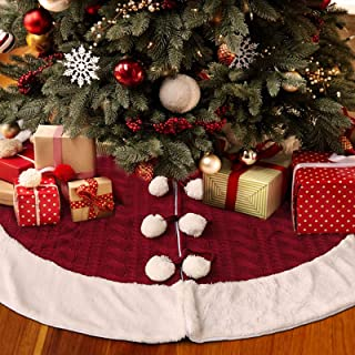 LimBridge Christmas Tree Skirt, 48 inches Knitted Skirt with Plush Faux Fur Edge, Rustic Thick Heavy Yarn Knit Xmas Holiday Decoration, Burgundy and White