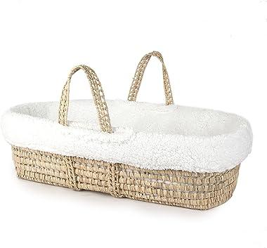 Tadpoles Super Soft Sherpa Moses Basket and Bedding Set, White